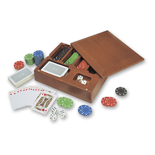 Набор для покера в дерев. коробке (100 фишек) (7715)