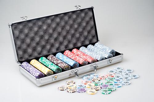 Фишки с номиналом для покера в алюм. кейсе, 11,5 г (500 шт.) (Euro-500)