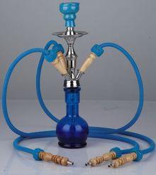 Кальян W 357  3 трубки, высота 48 см голубой, черный ()
